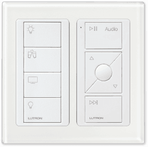 Lutron RA2 Select Keypad with living room and audio controls