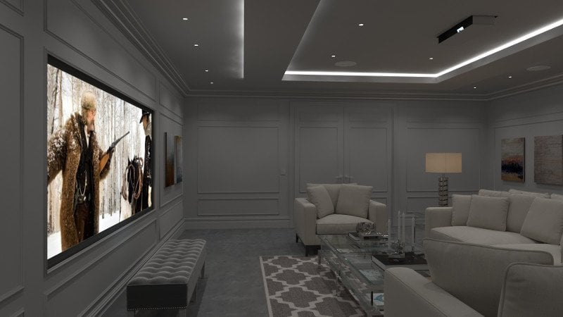 Elegant 'invisible' Media Room with disappearing projection screen and mirror lift